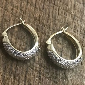925 Sterling Silver Two Tone Loop Earrings